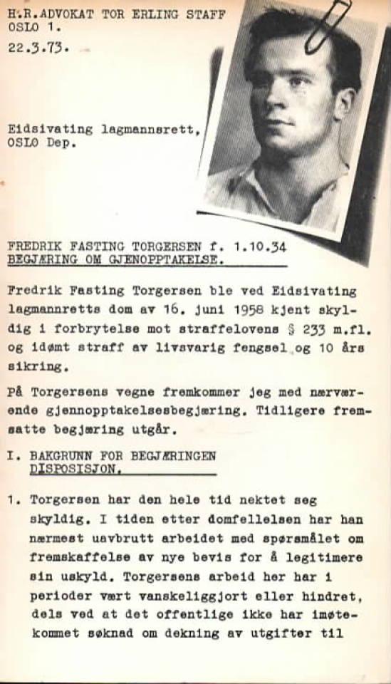 Begjæring om gjenopptakelse av saken mot Fredrik Farsting Torgersen