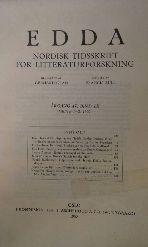 Edda. Nordisk tidsskrift for litteraturforskning.