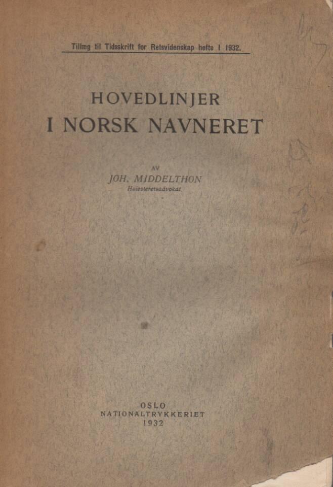 Hovedlinjer i norsk navneret