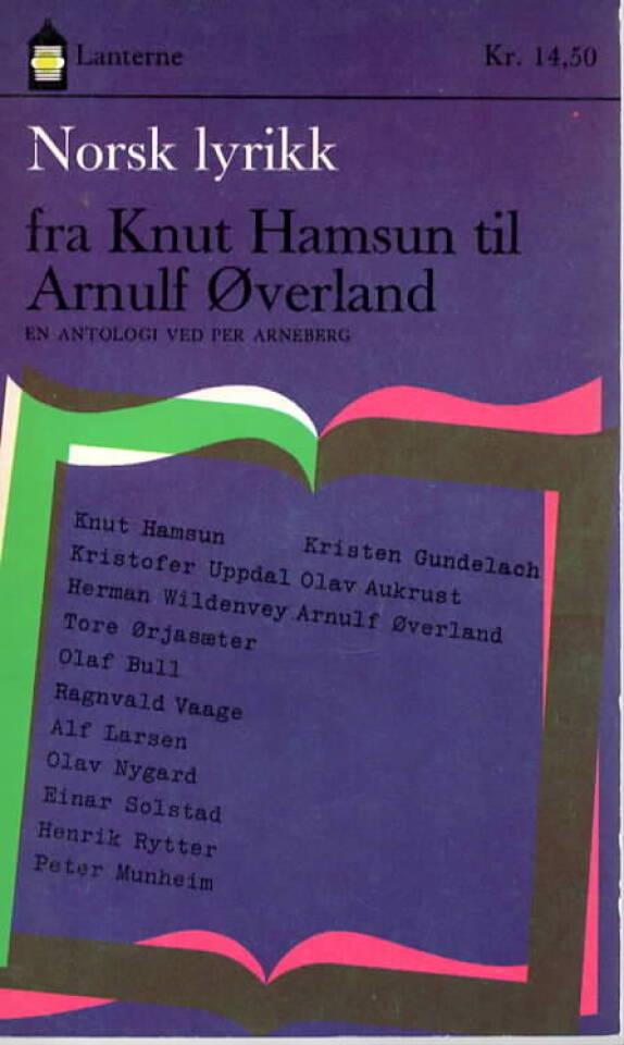 Norsk lyrikk fra Knut Hamsun til Arnulf Øverland