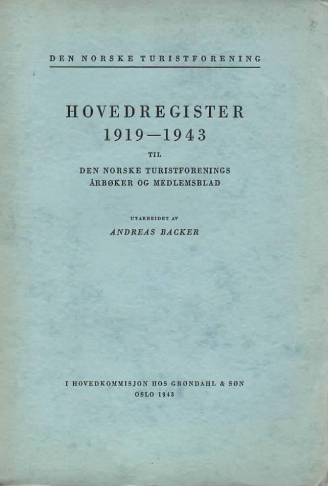 Den norske turistforening Hovedregister 1919-1943