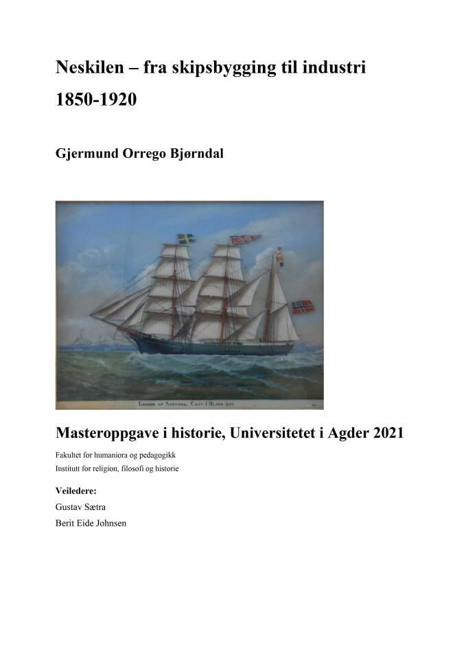 Neskilen - fra skipsbygging til industri 1850-1920