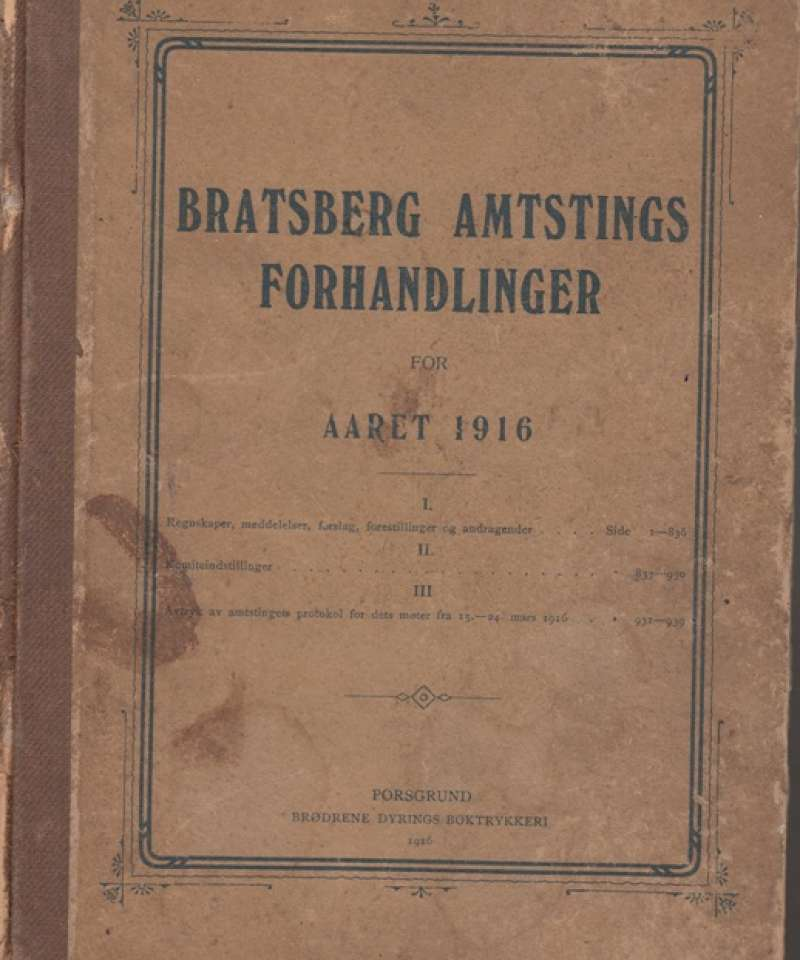 Bratsberg Amtstings forhandlinger for året 1916