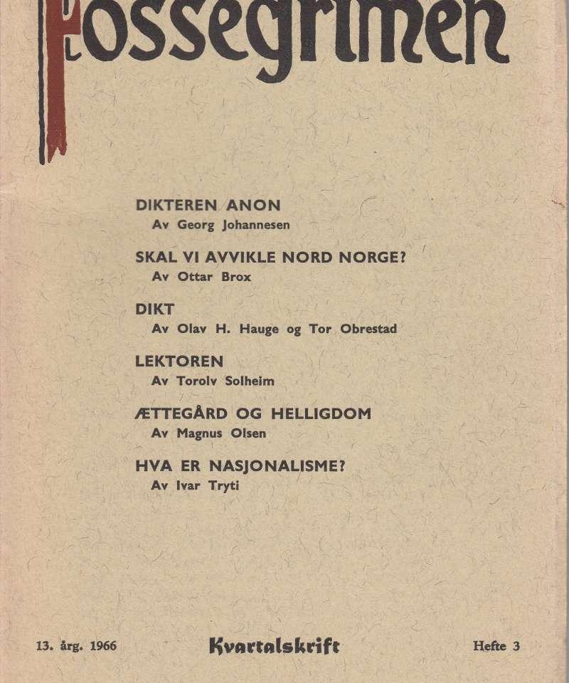FOSSEGRIMEN 13. ÅRG. 1966. HEFTE 3