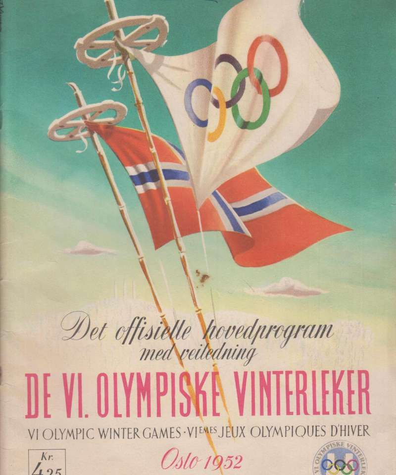 DE VI. OLYMPISKE VINTERLEKER. Oslo 1952. Det offisielle hovedprogram med veiledning