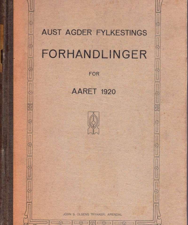 Aust-Agder fylkestingsforhandlinger for aaret 1920