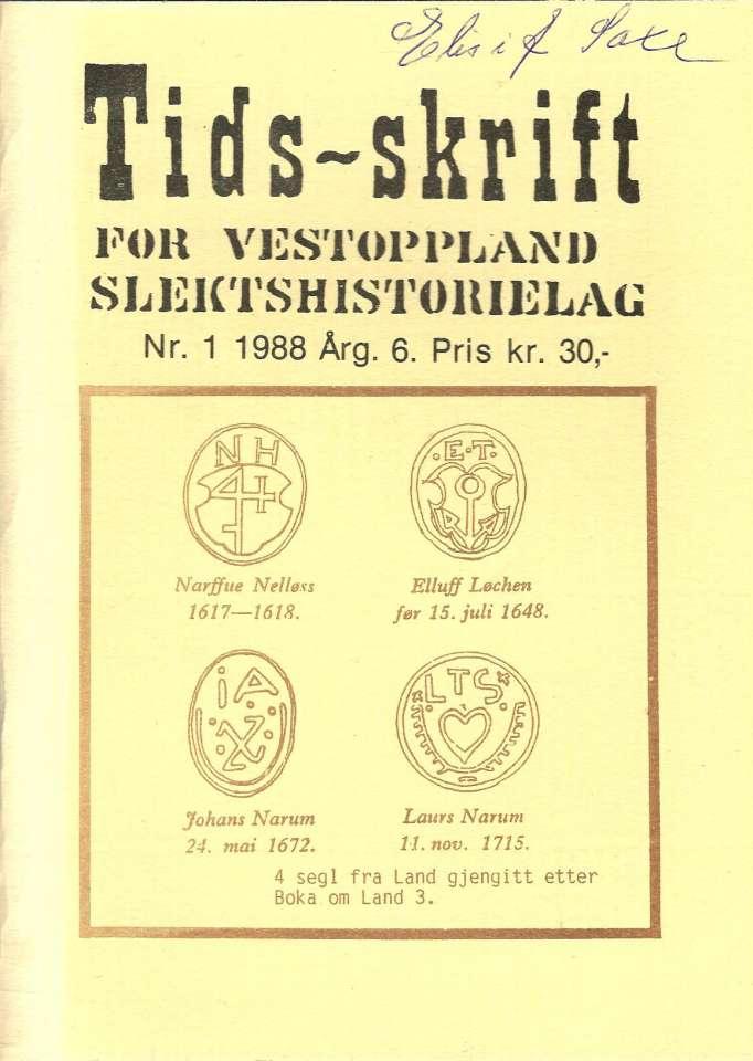 Tidsskrift for Vestoppland Slektshistorielag Nr.1. 1988